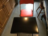 HABITAT black folding table and orange folding chair. BOUGHT FOR UNI but plans have now changed..