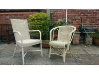 2x Vintage Cream Wicker Garden Chairs