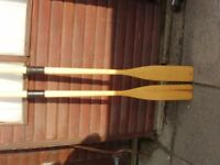 PLASTIMO WOODEN OARS - NEVER USED WITH COLLARS