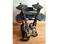 Wii Guitar Hero Drum and Guitars