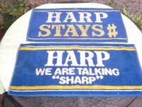 TWO HARP LAGER BEER BAR TOWELS - BOTH USED
