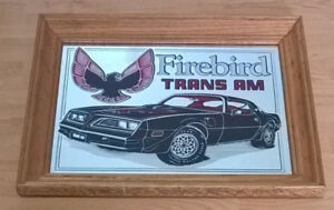 Vintage Firebird Trans Am Car Mirrored with Wood Framr Wall Sign