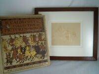 VINTAGE R CALDECOTT'S PICTURE BOOK AND ATTRIBUTED PENCIL DRAWING