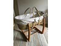 Mamas and Papas Millie and Boris Baby Moses basket cream neutral wooden frame nursery