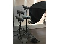 Photography studio flash set up - Strobes and back drops with softboxes and umbrellas etc