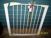 SAFETY GATE/ STAIR OR DOOR GATE. White. Metal. Pressure fit.