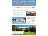 Bargain luxury autumn sun golfing break for 4 people