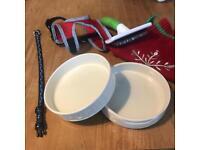Puppy stuff! Bowls, collar, harness, brush etc: £10.00