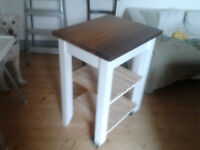 upcycled cream kitchen work station with iroko top and birch shelves