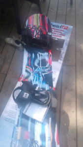 Snowboard, helmet and goggles