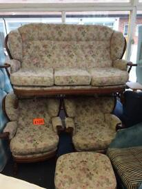 3 seater sofa with two chairs and foot stool.