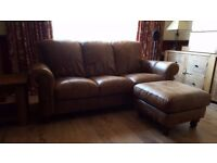 Aniline Leather 3-Seater Sofa & Footstool