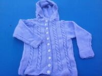 Child's Knitted purple hooded cardigan