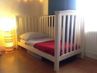 Mamas and Papas White Alpine Cot Bed + Mattress