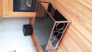 Black Glass & Chrome Coffee Table