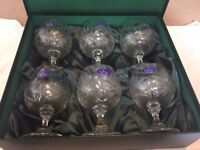 6 Royal Doulton Finest Crystal Brandy Glasses BNIB