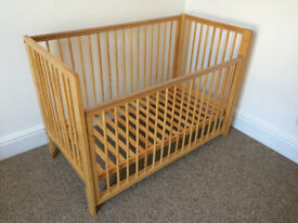 Cot by Tutti Bambini, solid pine, adjustable base, drop-side