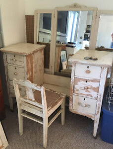 Antique Vanity with tri-fold mirror and caned chair