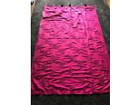 Pair Of Hot Pink Tab Top Curtains (not lined)