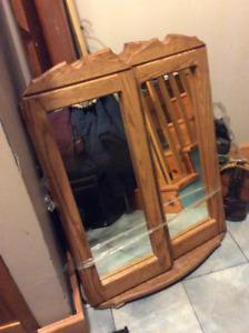 Super Beau miroir en boisson massif / Big 3 pcs vintage mirror