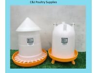 NEW CHICKEN POULTRY CHICK QUAIL 4LITRE ETON DRINKER + 5KG FEEDER WITH LID