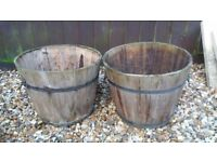 WOODEN ROUND BARRELL PLANTERS POTS