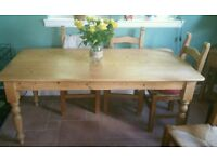 Farmhouse style pine table and 6 chairs