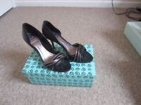 Bertie Black and Silver Heels, Size 40