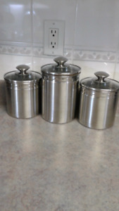 Brushed stainless canister set