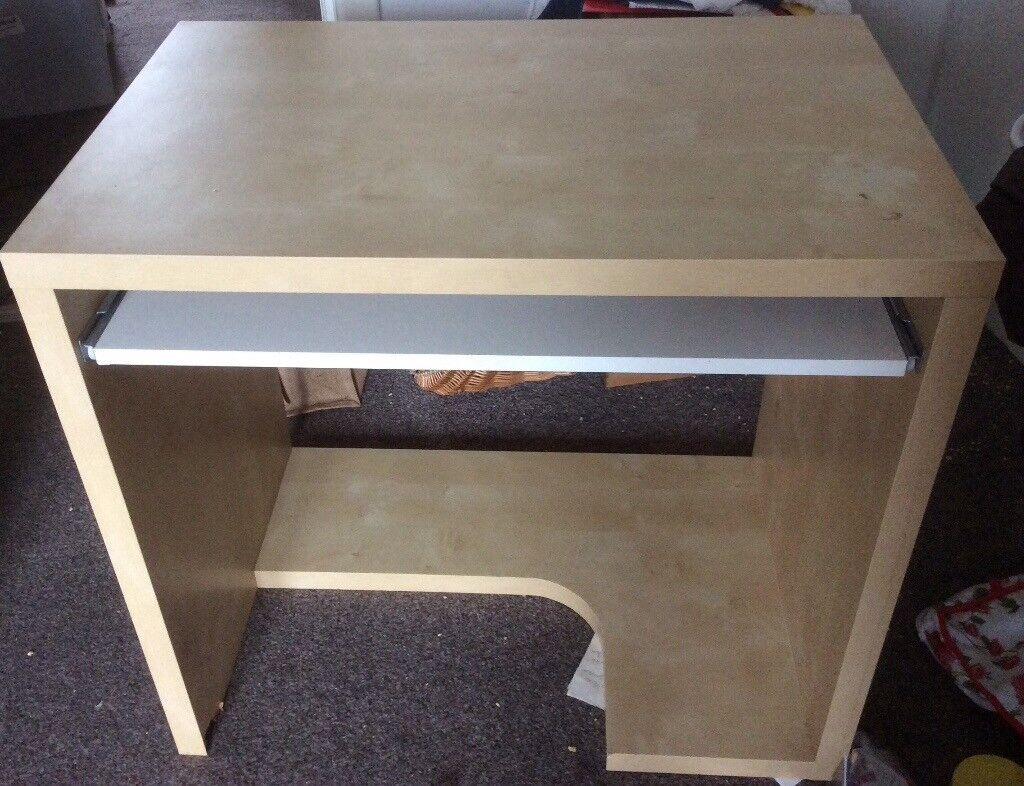 Ikea Birch Finish Computer Desk Pull Out Keyboard Shelf Vgc