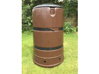 Compost Bin, brown wood barrel effect