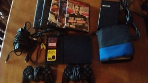 Ps2 Slim with 2 memory cards, 2 controllers and 28 games!