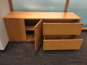 Office wood credenza and filing cabinet
