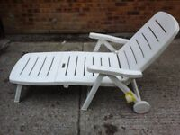 White plastic lounger and matching sied table £15 pair