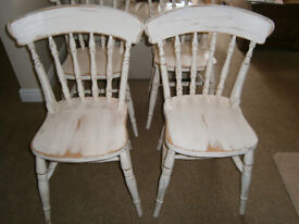 KITCHEN CHAIRS SET OF FOUR, SHABBY CHIC IN GOOD CONDITION!