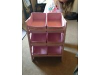 Pink wooden storage unit