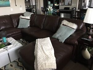 Brown Leather U shaped Sectional