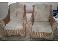 Two wicker conservatory chairs - good condition
