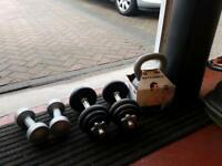 Weights and kettlebell