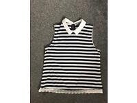 Navy and white Dorothy Perkins top