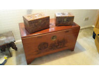 Carved Camphor Blanket Box with two smaller carved boxes