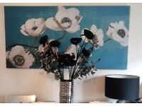 Large teal blue floral canvas print wall art home decor furniture ornament living room bedroom