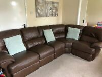 *XL Brown leather corner sofa with reclining ends. Both ends fully recline. Splits