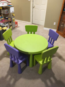 Kids' IKEA table and 5 chairs