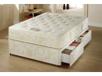 Single divan bed with 2 storage drawers mattress and headboard