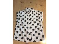 New look girls white spotty shirt age 14years