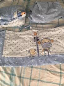 Next cheeky monkey cot bedding, sleeping bags, rug, curtains and pictures