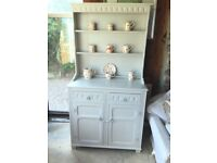 Welsh dresser painted with farrow and ball paint colour cornforth white