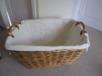 large, strong wicker basket for toys, logs etc
