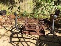 Large Antique Blacksmith Crafted Cast Iron Fire Basket Fire Grate with crafted Fire Dogs